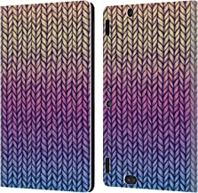 Official Micklyn Le Feuvre Rainbow Chunky Knit Patterns Leather Book Wallet Case Cover Compatible for Amazon Kindle Fire HDX 8.9
