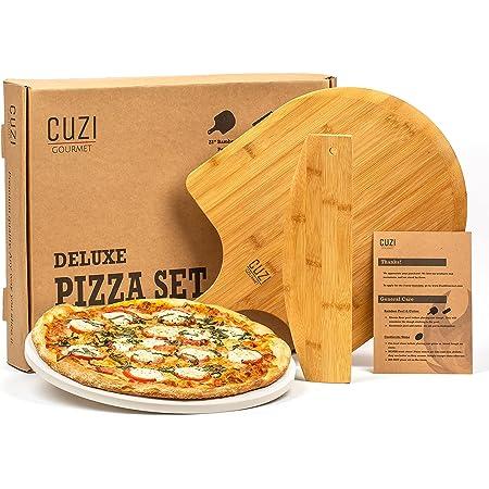 Cuzi Gourmet XL Pizza Stone Set, 3-Piece Pizza Grilling Set - Cordierite Pizza Stone, Bamboo Pizza Peel & Pizza Cutter - Large Pizza Stone for Grill, Pizza Stone for Oven