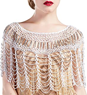BABEYOND 1920s Shawl Wraps Gatsby Beaded Evening Cape Bridal Shawl Bolero Flapper Cover Up