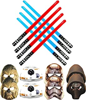 Star Wars Battling Party Pack - 8 Party Masks (2 Captain Phasma - 2 Chewbacca - 2 Kylo Ren And 2 BB-8) & 8 Blow Up Red and Blue Lightsabers (4 Red & 4 Blue)