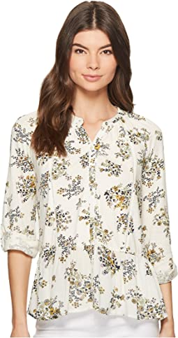 Printed Peplum Button Up Top