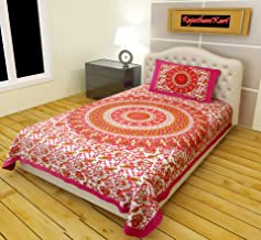 RajasthaniKart® Comfort Rajasthani Jaipuri Traditional Sanganeri Print 144 TC 100% Cotton Single Bedsheet with 1 Pillow Covers