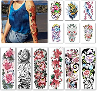 Kotbs 12 Sheets Full Arm Temporary Tattoo, Sexy Temporary Tattoos for Men Women Girls Flowers, Waterproof Full Arm and Half Arm Sleeves Body Tattoo Stickers