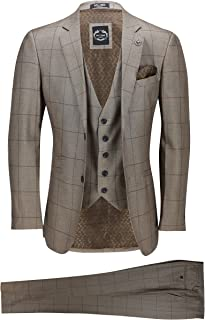 """Xposed Mens Brown Check Suit 46"""" 36"""""""