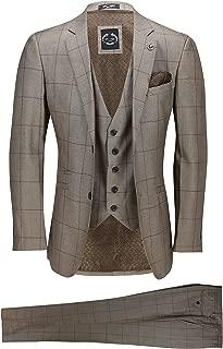 Mens Large Grid Windowpane Check Vintage Tan Brown 3 Piece Suit Slim Fit Smart Wedding Work