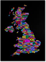 UK Cities Text Map 5 by Michael Tompsett work, 16 by 24-Inch Canvas Wall Art
