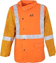 Mufly Welding Jacket Cowhide Leather Hybrid Welding Coat with HI-VIS Reflective Tape Safety Apparel Flame&Heat Resistant Heavy Duty Welding Suit CE Certification