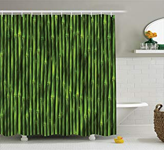 """Ambesonne Bamboo Shower Curtain, Bamboo Stems Pattern Tropical Nature Inspired Background Print Wildlife Theme, Cloth Fabric Bathroom Decor Set with Hooks, 84"""" Extra Long, Green"""