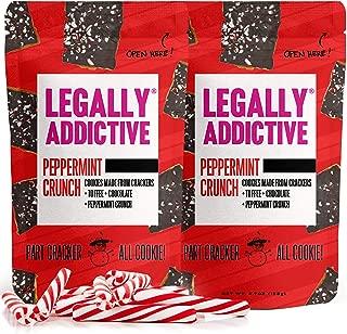 Legally Addictive Peppermint Crunch Cracker Cookies - Handmade Gourmet Cookies - Crunchy Cookies w/ Cracker, Toffee, Belgian Semi-Sweet Chocolate & Peppermint - Cracker Cookies - 4.7 Ounces, Pack of 2