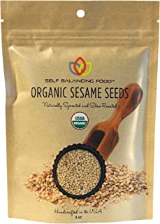 Organic Sesame Seeds Sprouted and Roasted 4 oz - Great Gift, Healthy Snack for Vegans, Cooks and Chefs, Salad Topper, Clean Nutritious Food - by Self Balancing Food