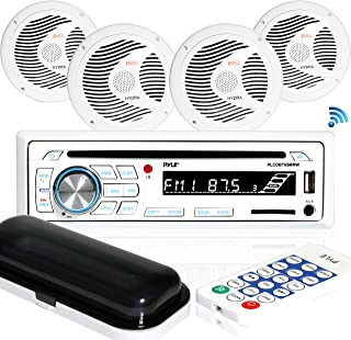 "$111 » Marine Stereo Receiver Speaker Kit - in-Dash LCD Digital Console Built-in Bluetooth & Microphone 6.5"" Waterproof Speakers..."