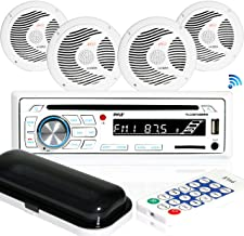 Marine Stereo Receiver Speaker Kit – In-Dash LCD Digital Console Built-in Bluetooth..