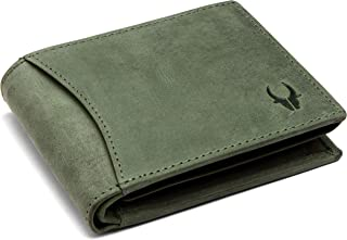 WildHorn® RFID Protected 100% Genuine High Quality Mens Leather Wallet (Moss Green)