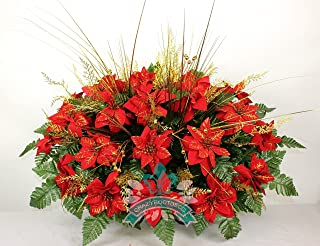 XL Artificial Red Poinsettia's w Gold Sprays Cemetery Flower Headstone Saddle Grave Decoration