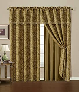 Chezmoi Collection Lennox 4-Piece Gold Floral Jacquard Embroidered Motif Window Curtain/Drape Set - Attached Sheer Backing and Valance