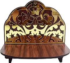 VRINDAVANBAZAAR.COM Handcrafted Wooden Sinhasan for Dieties with Golden Flora Design in Background/Dimensions: 5.75
