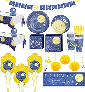 Party City Moon & Stars Premium Baby Shower Party Kit for 32 Guests, Includes Balloons and Banners