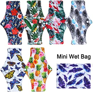 7 Pcs Resuable Waterproof Menstrual Pad Sets Including 1Pc Mini Wet Bag and 6Pcs Regular Flow Menstrual Pads Mama Cloth Sanitary Napkins (Set 2, Regular Flow Bamboo Charcoal)