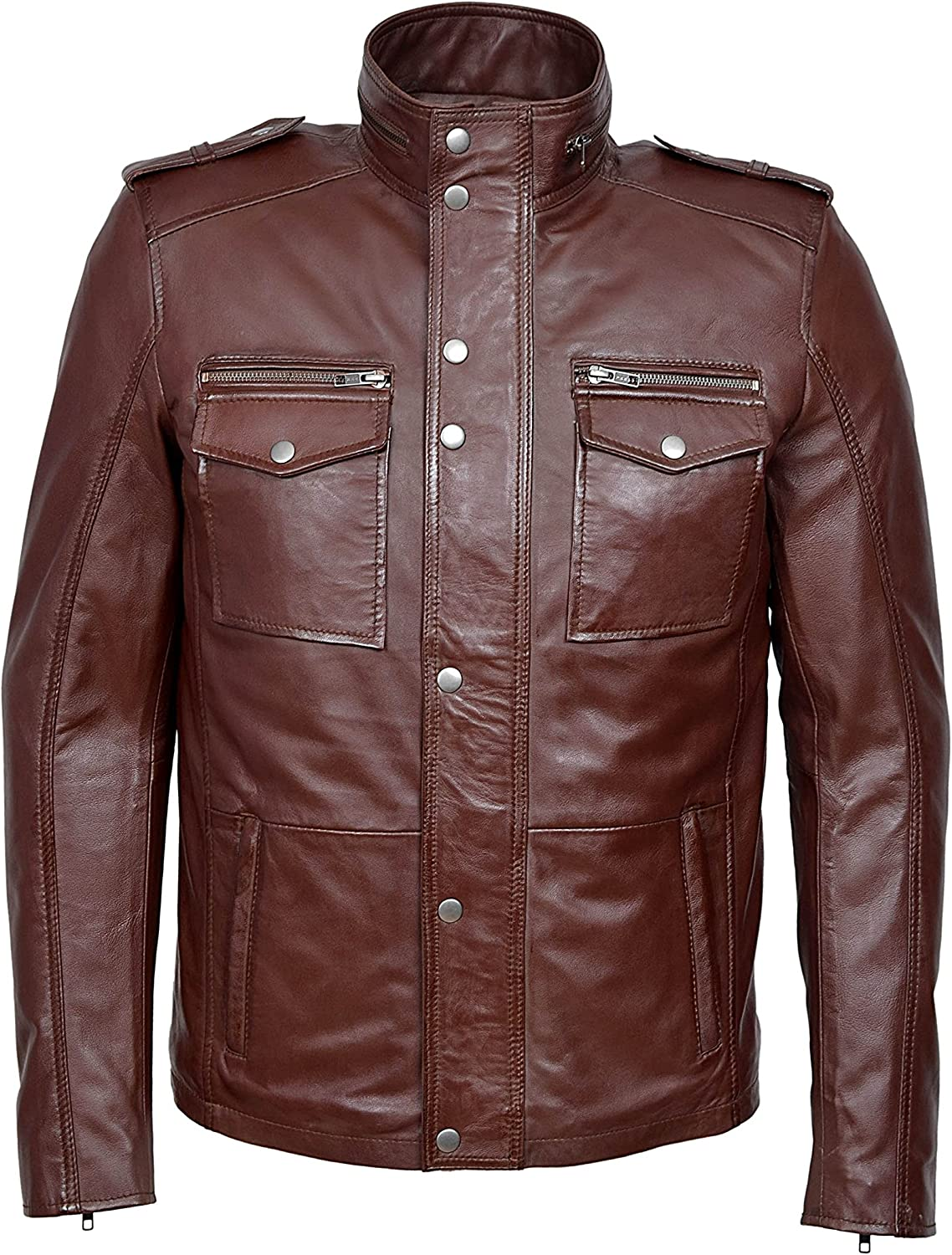 Trojan Men's Washed Brown Biker Style Motorcycle Soft Nappa Real Leather Jacket 5540