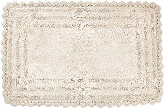 "Soft Cotton Crochet Rectangle Pattern Bath Rug - Mats for Bathroom, Shower, Bath Tub, Sink, Toilet - (21"" x 34"" Inches, Iv..."