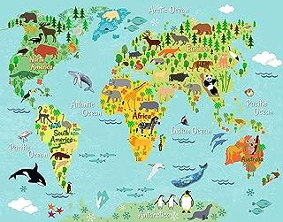 Animal World Map Wall Art -Kids Children Educational Wall Decor - 11x14 - Unframed