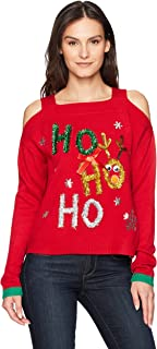 Women's Selfie Polaroid Photo Ugly Christmas Sweater with Jingling Bells