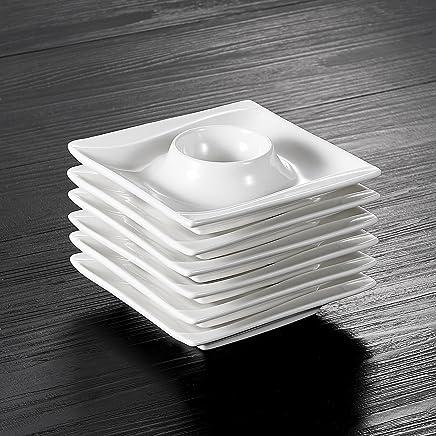 Preisvergleich für MALACASA, Serie Carina, 6 TLG. Cremeweiß Porzellan Eierständer Set je 4 Zoll / 10,5 * 10,5 * 2,5cm Eierbecher Eierhalter
