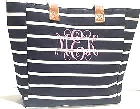 Monogrammed Navy Striped Tote/Beach Bag