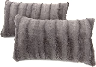 Cheer Collection Faux Fur Throw Pillows - Set of 2 Lumbar Couch Pillows - 12
