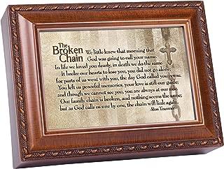 Cottage Garden Broken Chain Will Link Again Woodgrain Rope Trim Music Box Plays How Great Thou Art
