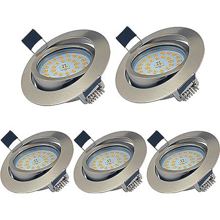 YYZB Lot de 5 Spots LED Encastrables Orientables Dimmables, 5W Ultraslim Blanc Chaud 3000K 550LM IP44 éclairage plafond encastré pour Salle de bain, Cuisine, Salon, Couloir