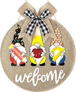 Jetec Welcome Sign Gnome Welcome Front Door Hanger Burlap Gnome Sign Hanging Wall Porch Teacher Appreciation Swedish Gnomes School First Day Decoration for School Yard Outdoor Decoration