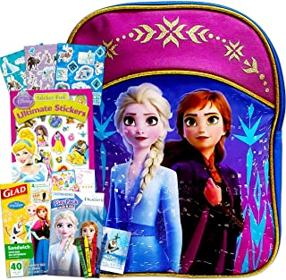 """Disney Frozen Travel Activity Backpack Set for Toddlers ~ Deluxe 11"""" Frozen Mini Backpack with Coloring Book, Stickers, and More (Frozen 2 School Supplies Bundle)"""