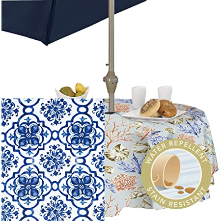 Amazon Com Fabric Textile Products Rectangular Tablecloth With Umbrella Hole And Zipper Water Repellent Outdoor 100 Milliken Polyester Machine Washable 60x84 Picnic Check Navy Home Kitchen