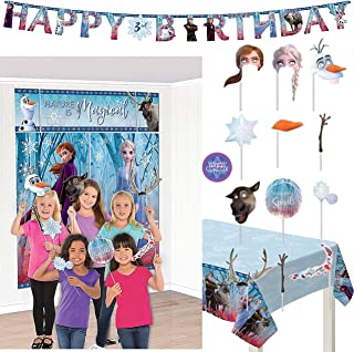 Frozen II Birthday Party Decorations - Frozen 2 Scene Setter with Photo Booth Props, Giant Birthday Banner Kit, Frozen 2 Table Cover and 1 Birthday Sticker