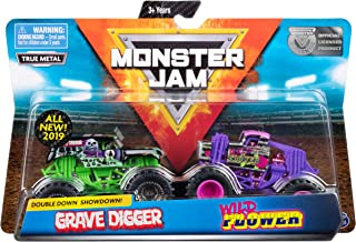 Monster Jam Official Grave Digger vs. Wild Flower Die-Cast Monster Trucks, 1:64 Scale, 2 Pack
