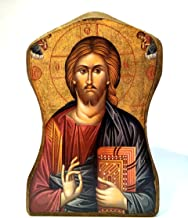 Handmade Wooden Greek Christian Orthodox mount athos icon of Jesus Christ / Mp1
