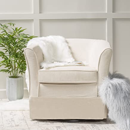 Cecilia Natural Fabric Swivel Chair with Loose Cover by Christopher Knight Home