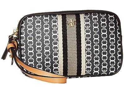 Tory Burch Gemini Link Canvas Wristlet (Black Gemini Link) Handbags