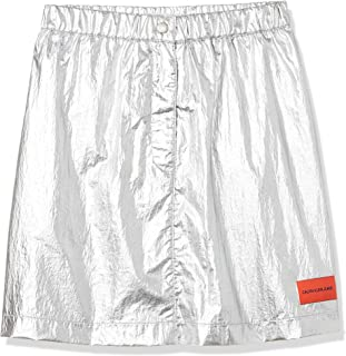 Calvin Klein Jeans Women's Silver Utility Skirt, Silver (Silver Place Holder 901), X-Small
