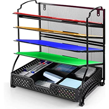 Simple Trending 5-Trays Mesh Desk File Organizer Vertical Document Letter Tray Wall File Holder with Plastic Drawer Organizer for Office Home, Black