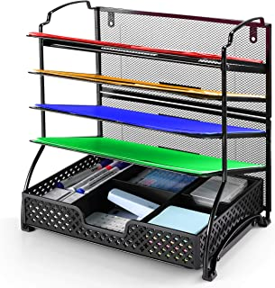 Simple Trending 5-Trays Mesh Desktop File Organizer Vertical Document Letter Tray Holder for Office Home, Black with Drawe...