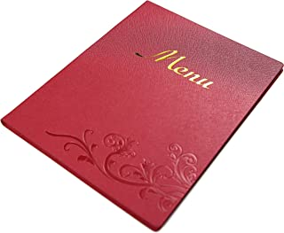 Restaurant menu covers 8.5X11 inch with logo, 5 vinyl pocket inserts, Gift 10 printing paper, 25pcs pack (Pearl red, 8.5x11 inch)