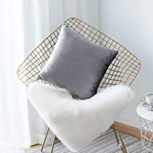 """HOME BRILLIANT Deluxe Velvet Decorative Square Throw Pillow Cover Fall Cushion Cover for Sectional Sofa 18"""" X 18"""" V-Gun Metal"""