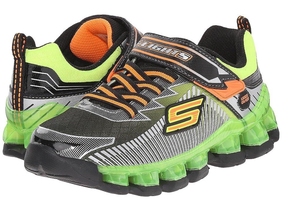 SKECHERS KIDS Lighted Gore Strap 90293L Lights (Little Kid) (Black/Lime) Boys Shoes