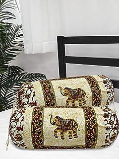 Salona Bichona 100% Cotton Elephant Printed Jaipuri Bolster 2 Pcs Set