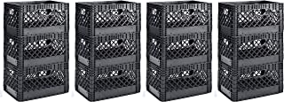 Muscle Rack PMK24QTB-3 24 Quart Black Heavy Duty Rectangular Stackable Dairy Milk Crates, 11 Height, 19 Width (4 X Pack of 3)