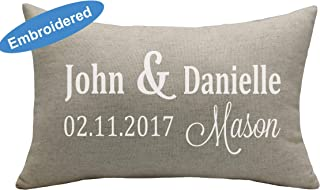 Yugtex Cushion Cover Personalized Anniversary Pillow Cover, Wedding Day Pillow Cover, Couples Pillow, Wedding Shower gift, Personalized linen Pillow, Anniversary Date PillowCover,Cushion Cover