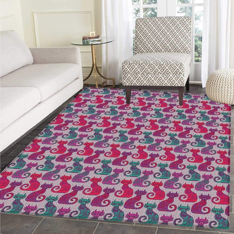 Purple Small Rug Carpet Swirls Curls Background Damask Inspired Paisleys on The Ethnic colorful Cat Floor Mat Rug Indoor Front Door Kitchen Living Room Bedroom Mats Rubber Non Slip