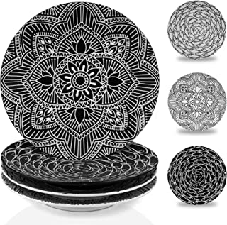 Sponsored Ad - MARSTRACE 8.25 Inch Ceramic Salad Plates,Black and White Plates Porcelain Dinner Plates with Floral Pattern...